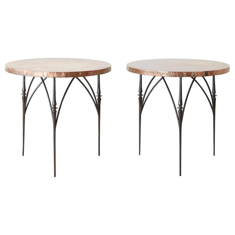 Pair of Moderne Copper Top Centre or Dining Tables For Sale