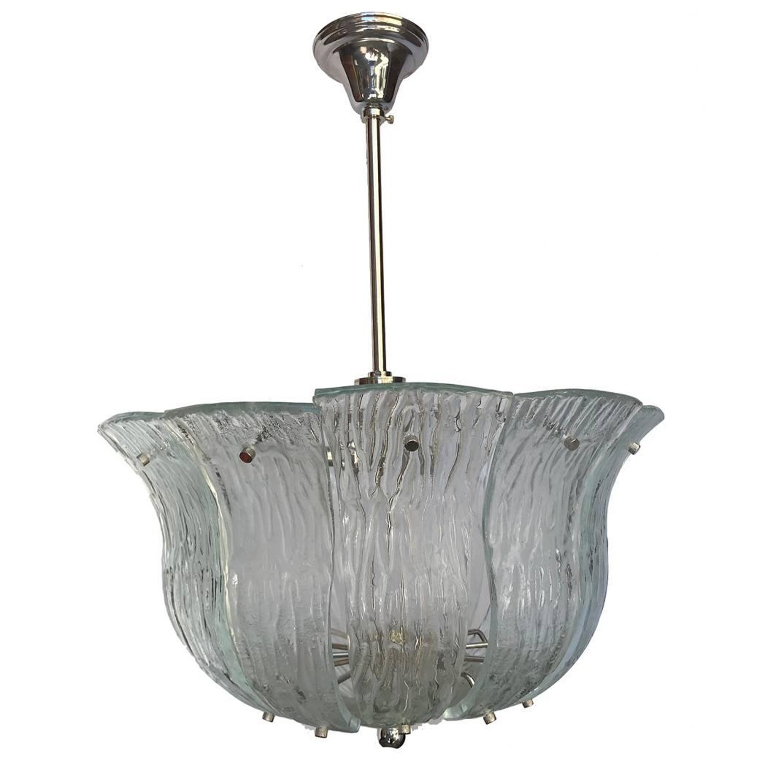 Pair of moderne french molded glass light fixtures for sale at 1stdibs