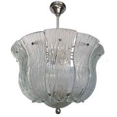 Moderne French Molded Glass Pendant Light Fixture