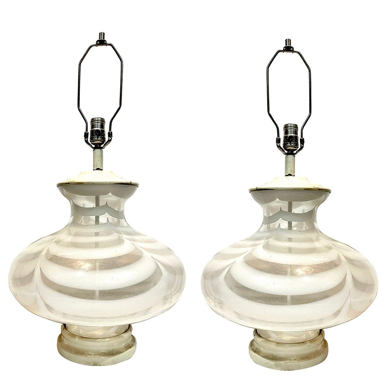 Pair of Moderne Glass Table Lamps