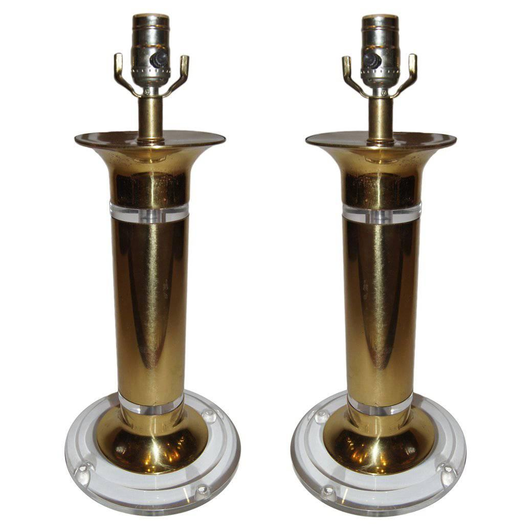 Pair of Moderne Lamps with Lucite Bases