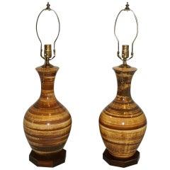 Pair of Moderne Porcelain Lamps