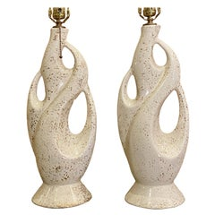 Pair of Moderne Porcelain Table Lamps
