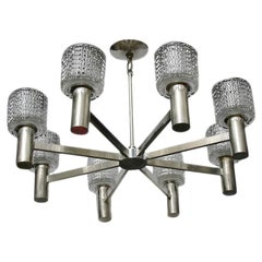 Pair of Moderne Silver and Glass Chandeliers, Sold Individually