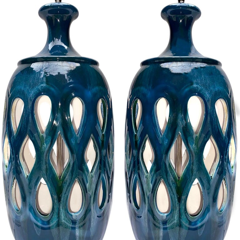 Italian Pair of Moderne Style Blue Porcelain Lamps For Sale