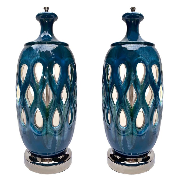 Pair of Moderne Style Blue Porcelain Lamps For Sale