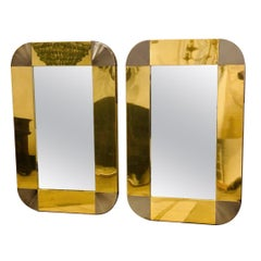 Pair of Moderne Style Metal Frame Mirrors