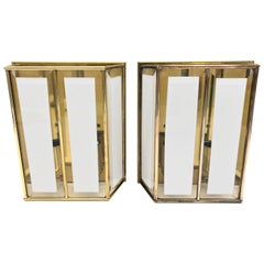 Pair of Modernist 1970s German Brass and Glass Wall Lights