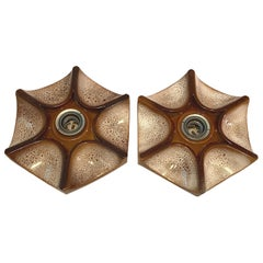 Pair of Modernist 1970s German Ceramic Starburst Fat Lava Wall Lights Sconces