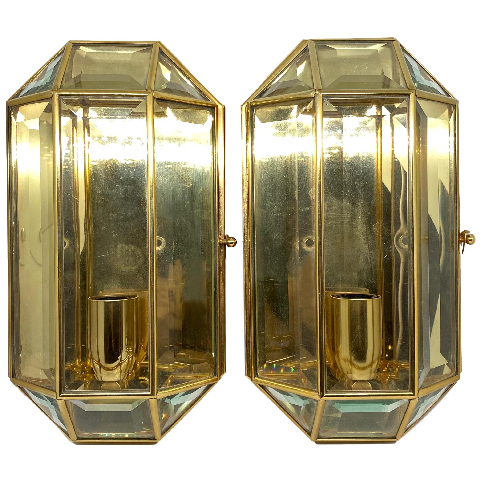 Pair of Modernist 1970s German Octagonal Brass and Glass Wall Lights