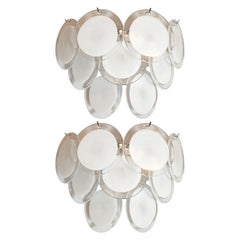 Pair of Modernist 9-Disc Hand Blown Murano White and Translucent Glass Sconces