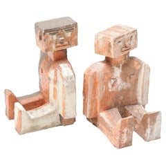 Pair of Modernist Abstract Brick Sculptures, 1970s