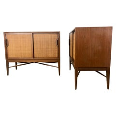 Pair of Modernist American Danish Walnut Sliding Caned Door Cabinets
