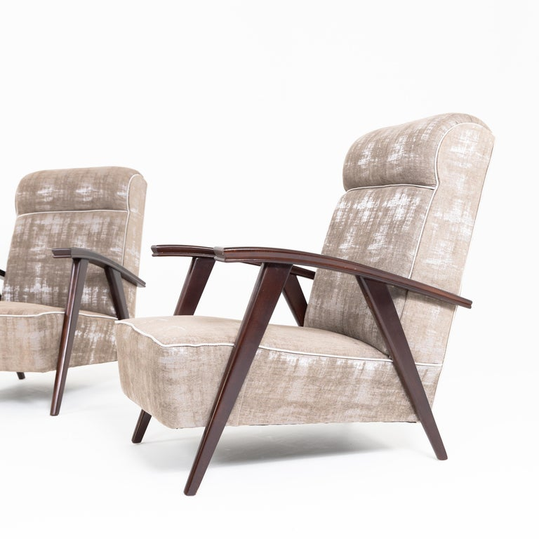 French Pair of Modernist Armchairs Attributed to Jacques Adnet For Sale