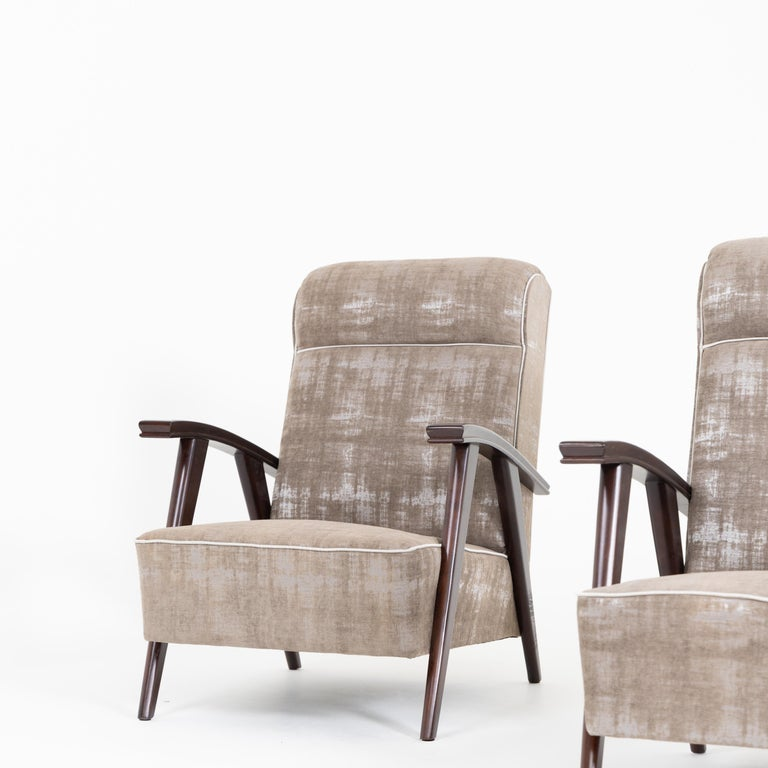 Pair of Modernist Armchairs Attributed to Jacques Adnet For Sale 2