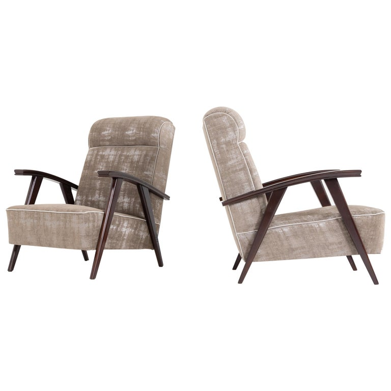 Pair of Modernist Armchairs Attributed to Jacques Adnet For Sale