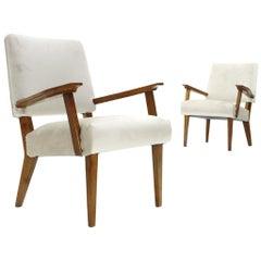 Pair of Modernist Armchairs in White Velvet, 1940s