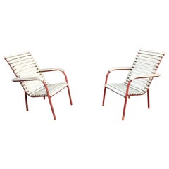 Pair of Modernist Art Deco Armchairs in the Style of Robert Mallet Stevens