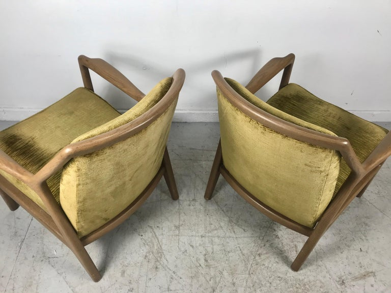 Velvet Pair of Modernist Ash Group Chairs by Jack Van der Molen for Jamestown Lounge For Sale
