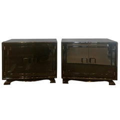 Pair of Modernist Asian Inspired Ebony Bachelor Chests in James Mont Style