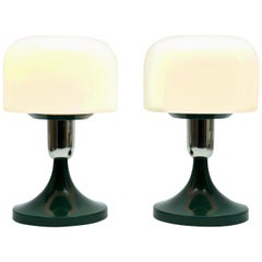 Pair of Modernist Bedside / Table Lamps in Opaline Made in 1970s
