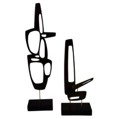 Pair of Modernist Biomorphic Abstract Mahogany Wood Tabletop Sculptures