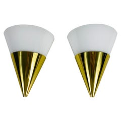Pair of Modernist Brass and Opaline Glass Wall Lamps by Limburg, Germany, 1980s