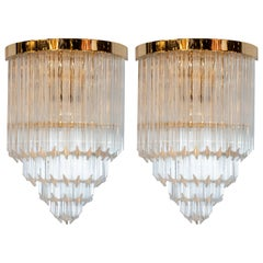 Pair of Modernist Brass and Hand Blown Murano Glass 4-Tier Quadretti Sconces
