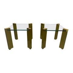 Pair of Modernist Brass Side Tables