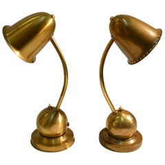 Pair of Modernist Brass Table / Desk Lamps 1930s Lamps by Daalderop Netherlands