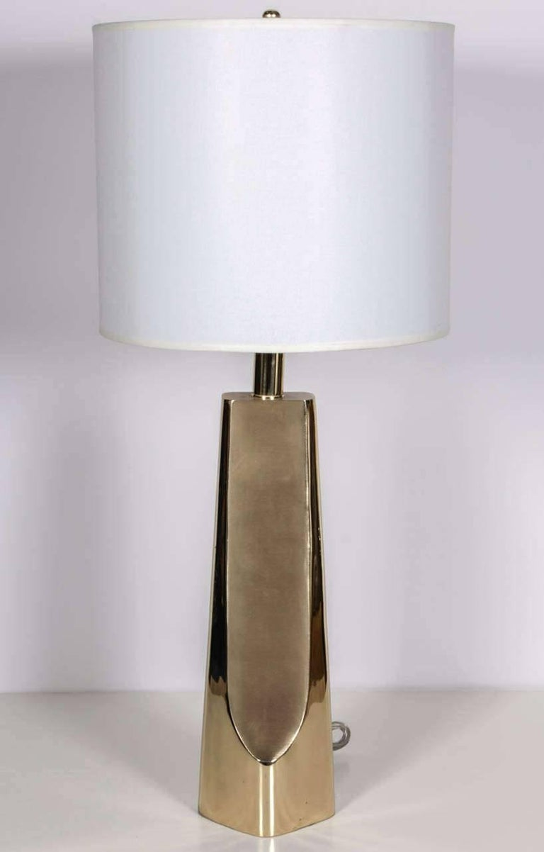 Pair of sculptural modern brass lamps with brushed brass front and back panels. Rewired for use in the USA with new sockets and cords. Shades not included.