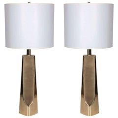 Pair of Modernist Brass Table Lamps by Laurel