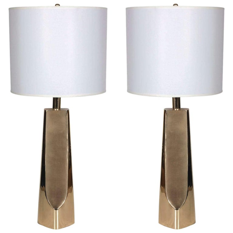 Pair of Modernist Brass Table Lamps by Laurel For Sale
