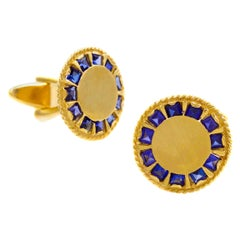 Pair of Modernist Brushed 14k Gold & Sapphire Cufflinks, Lucien Piccard, c. 1950