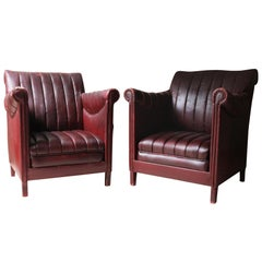 Pair of Modernist Burgundy Armchairs