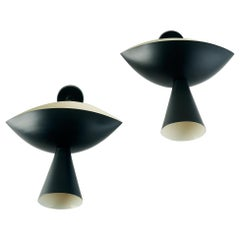 Pair of Modernist Cachan Sconces in Black and White Serge Mouille