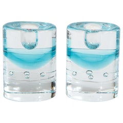 Pair of Modernist Candlesticks in Translucent and Acquamarine Glass by Littala