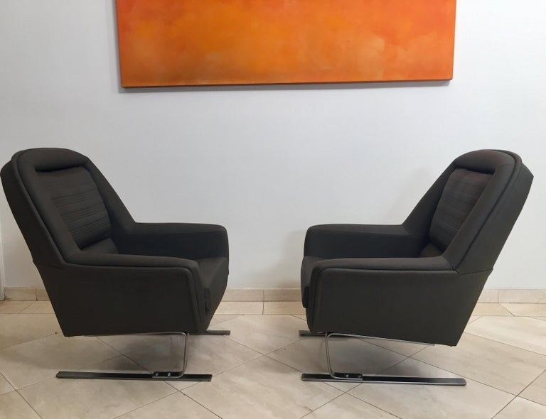 German Pair of Modernist Cantilever Club Lounge Chair Augusto Bozzi Style, 1970 For Sale