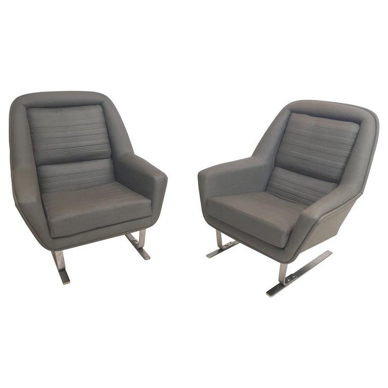 Pair of Modernist Cantilever Club Lounge Chair Augusto Bozzi Style, 1970 For Sale