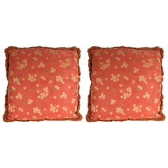 Pair of Modernist Carnelian Red and Tan Japonisme Inspired Pillows
