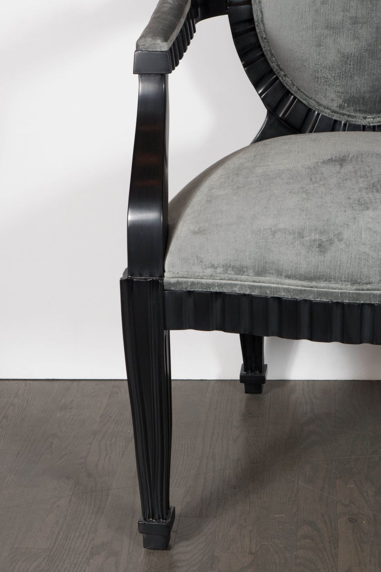 American Pair of Modernist Chairs by Donghia in Ebonized Walnut & Smoked Platinum Velvet For Sale