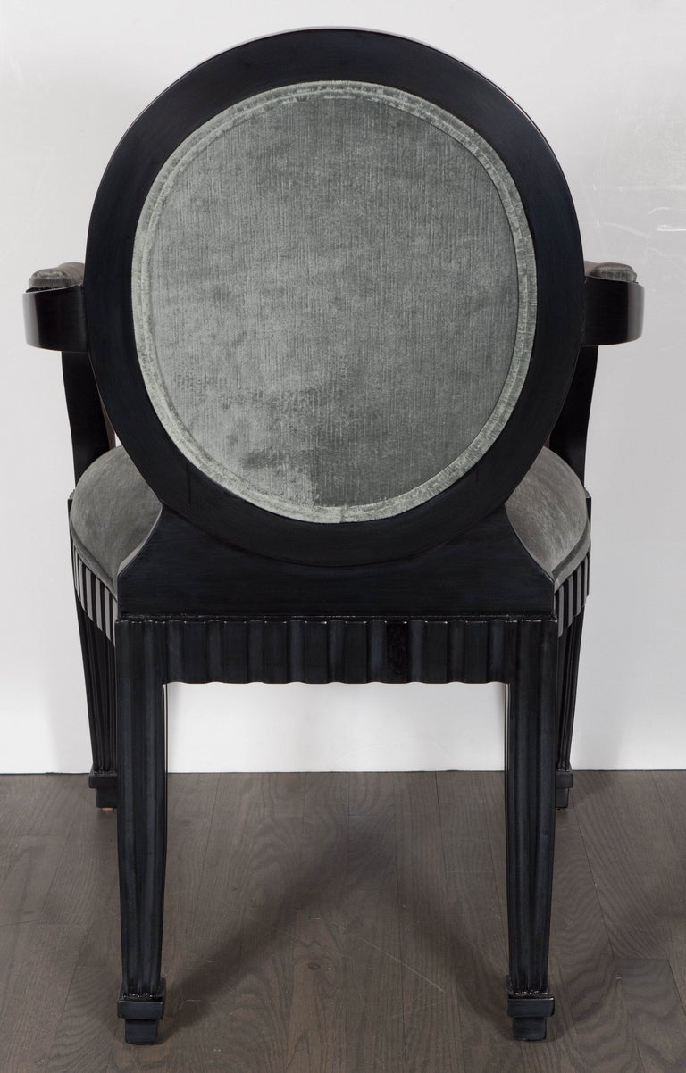 Pair of Modernist Chairs by Donghia in Ebonized Walnut & Smoked Platinum Velvet For Sale 1