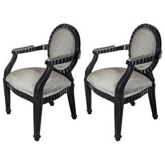 Pair of Modernist Chairs by Donghia in Ebonized Walnut & Smoked Platinum Velvet