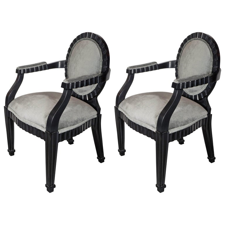 Pair of Modernist Chairs by Donghia in Ebonized Walnut & Smoked Platinum Velvet For Sale