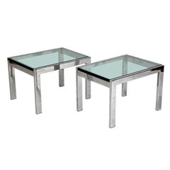 Pair of Modernist Chrome and Thick Glass Side Tables