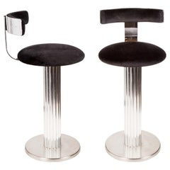 Pair of Modernist Chrome Steel Swivel Bar Stools by Designs for Leisure