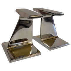 Pair of Modernist Chromed Steel I-Beam Bookends by Bill Curry for Design Line