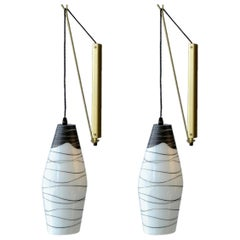 Pair of Modernist Czech Black and White Hand-Painted Glass Wall Lights