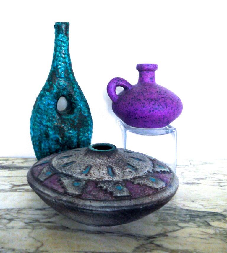 Pair of Modernist European Fat Lava Vintage Ceramic Vases, Mid-1960s For Sale 2