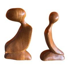 Pair of Modernist Figural Sculptures in Burlwood